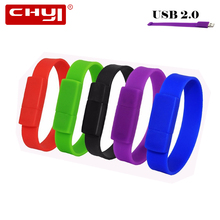 CHYI Bracelet USB Flash Drive Pen Drive Red Black Green Blue Purple Wrist Band Memory Stick 4/8/16/32/64GB Pendrive For Gift(China)