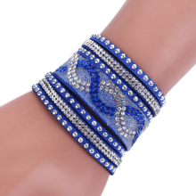 Fashion New Leather Bracelets with Wrap Bracelet for women Clasp Charm Bracelets Bangles(China)