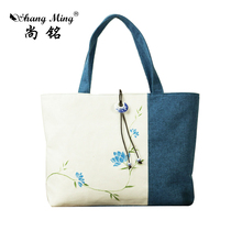 2017 ShangMing Brand  Women bag Flower  print shoulder Totes Traditional Hand painted China National Style Women Bags Hand