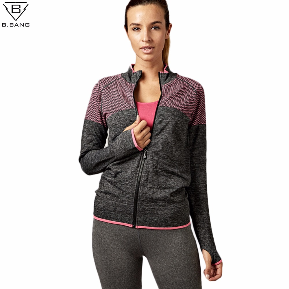 B.BANG 2016 Women Running Jacket Long-sleeved Stand Collar Sport Jackets Sweatshirt Cloth Fitness Zipper Outerwear Outdoor Coats<br><br>Aliexpress