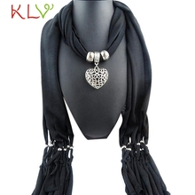 1New Stylish Fashion Solid Women Winter With Heart Gemstone Necklace Scarf Lady Tassel Scarf jewellery Pendant Scarf Women NO28