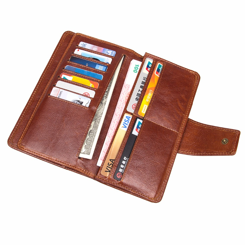 J.M.DJ.M.D Vintage Genuine Leather Classic Card Holder Brown Long Mens Wallet ID Card Holder Purse R-8186X<br>