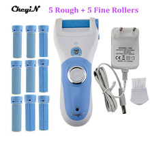 CkeyiN Electric Foot Care Tool + 10pcs Roller Rechargeable Pedicure Peeling Feet Care Machine Express Dead Skin Callus Removal(China)