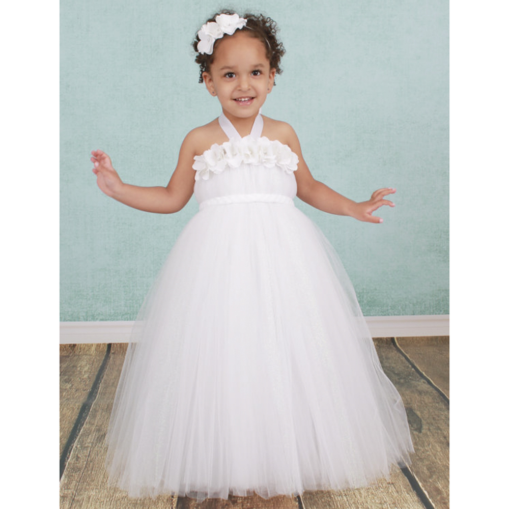 White Angel Girls Dress Flower Headband Christenings Clothing Dress for Baby Girls  Flower Girl Dress for Wedding Party PT157<br><br>Aliexpress