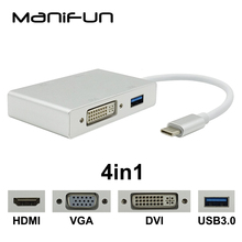 USB C Type C to HDMI VGA DVI USB3.0 Adapter 4in1 USB 3.1 USB-C Converter Cable for Laptop Apple Macbook Google Chromebook Pixel(China)