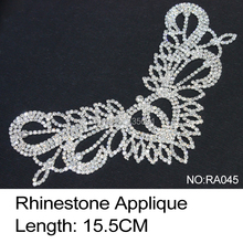 2017 Sale Limited Shoes Ra045 Rhinestone Applique 2pcs/lot Crystal Clear And Silver Base Sew On Use For Wedding Dress Ornament
