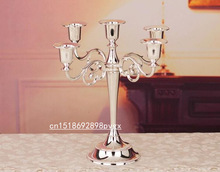 27cm Metal candle holder 5-arms candle stand wedding event candelabra candle stick in Silver/Gold/Black/Bronze