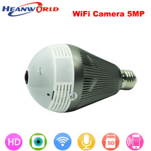 Heanworld newest hd 5MP light FishEye smart wifi camera bulb 360VR night vision mini cam two way audio home security camera(China)