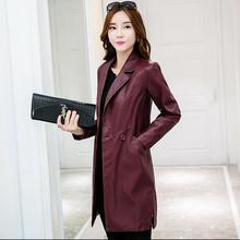 lager size women clothing Free shopping Winter new Korean PU leather Slim long thick coat / L-4XL