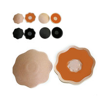 2Pairs Flower/Round Shape Adhesive Silicone Nipple Covers Pads Breasts Stickers Milk Paste Anti Emptied Pasties Nipple Covers(China)