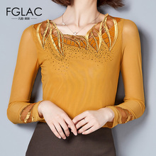 Buy FGLAC New Arrivals 2017 Autumn women blouse shirt Fashion Elegant Slim Mesh tops Plus size long sleeved Lace tops for $11.82 in AliExpress store