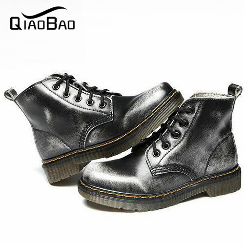 QIAO BAO 2017 Unisex High quality Fashion Leather Boots Personality Slip Resistant Winter Shoes,autumn winter ankle boots<br><br>Aliexpress