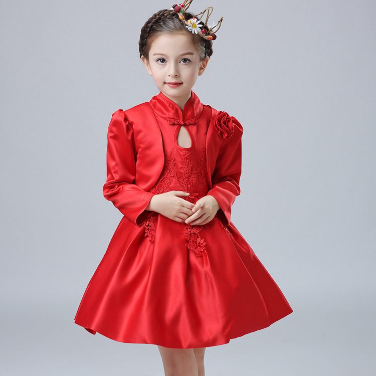 New Girls Chinese Wind Princess Embroidery Childrens Wear Dress Suits Kids Clothing White Red<br>