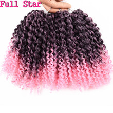"Full Star 8"" 3Pcs/set 90g Crochet Marlybob Synthtic hair Braids Ombre Pink hair High Tmeperature Fiber Crochet Hair Extension"
