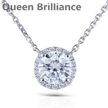 Queen Brilliance 1ct Lab Grown Diamond Pendant Genuine 18K 750 White Gold Lab Created Moissanites Diamond Women Pendant Necklace