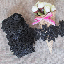 15Yds White Black Lace Pattern Vintage Floral Venise Embroidered Trim Lace DIY Clothing Sewing Craft Decoration Garment Wedding()
