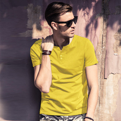 MRMT 2018 Brand New Mens T Shirt Short Sleeved T-Shirt V Collar Two Button Buttons Solid Colored Tshirt For Male Tops 57