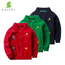 Svelte Brand for 2017 Spring Fall Autumn Cute Children Kids Boys Girls Fleece Solid Embroider Bomber Jacket Coat Outwear Clothes(China)