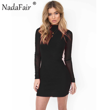 Nadafair Mesh Full Sleeve Turtleneck Skinny Mini Women Sexy Club Dress 2017 New Fashion Autumn Casual Party Dresses(China)