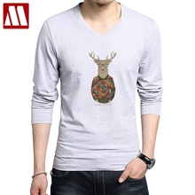 Kawaii Deer Head Printed Men's T-shirt Fashion Christmas hipster deer Printed Men Cotton T Shirts Long Sleeve Summer Funny Tops(China)