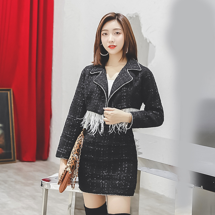 fashion Women's Sets Women Vintage Skirt Sets Elegant Winter Ladies tassel Woolen Tweed Jacket+Short Skirt Suits Two Pieces Sets
