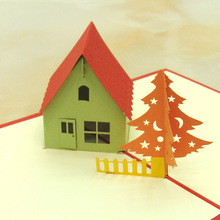 10pcs/lot Handmade Christmas Card 3D Cubic Countryside House Kids Birthday Greeting Cards Laser Cut Invitations
