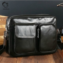 KUJING Leather Men's Bag High-end Business Men's Shoulder Messenger Bag Cheap Free Shipping Luxury Black Leather Clutch Male Bag