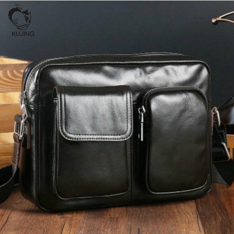KUJING Leather Mens Bag High-end Business Mens Shoulder Messenger Bag Cheap Free Shipping Luxury Black Leather Clutch Male Bag<br>