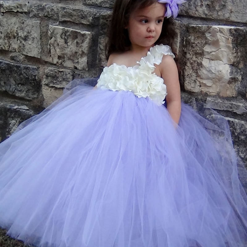 High quailty Fashion Purple Flower Children Girl Dresses 2Y-8Y One Shoulder Flowers Ball Gown Cute Birthday PartyTulle Dresses<br>