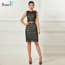 Dressv scoop neck two pieces cocktail dress beading sheath knee length sleeves elegant cocktail dress lace formal party dress(China)