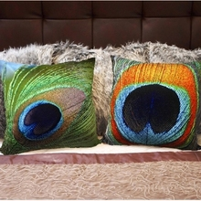3 Styles Peacock Feather Sofa Cushion Covers 45X45cm High Level Pillows Covers 3D Special Design Throw Pillows Cases Gift(China)