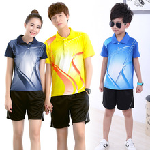 Badminton Jersey suits men/women short sleeve lapel children's table tennis Jersey shirt competition training t shirt clothes(China)