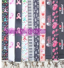 100 pcs Popular Mix Ribbon musical note key chains Mobile Phone Neck Straps Keys Camera ID Card Lanyard  W-206