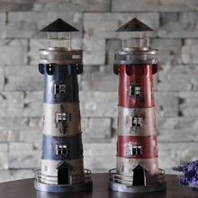38cm Candle Holders Mediterranean Style Wrought Iron Creative nostalgic Retro lighthouse candlestick Bar Home decoration