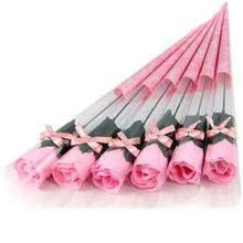 5pcs Bath Body Artificial Rose Flower Soap Wedding Party Decor Valentines Gift PINK