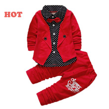 2017 Baby Boys Autumn Casual Clothing Set Baby Kids Button Letter Bow Clothing Sets Babe jacket + pant 2-Piece Suit Set(China)