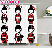 Girly Decor Shower Curtain Set Unique Asian Geisha Dolls In Folkloric Costumes Outfits And Hair Sticks Kimono Art Image Bathroom