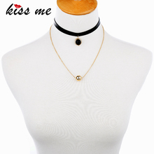 KISS ME Trendy Double Layer Choker Necklace Gold Color Ball Black Imitation Leather Necklace Women Jewelry(China)