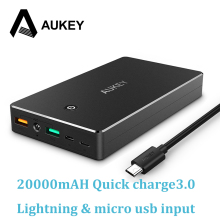 AUKEY Quick Charge 3.0 Power Bank 20000mAh Fast Charging Dual USB Portable External Battery for iPhone Samsung Xiaomi Powerbank(China)
