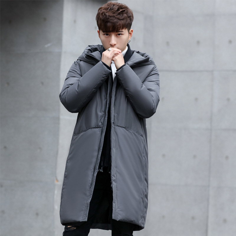 2018 New thick winter men's white down Jacket brand clothing hooded black Gary long warm white duck down coat male coats