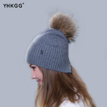 2017 newest fashion elegant plain band hair ball letters Ms. cashmere hat beanies gorros(China)