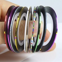 Nail Striping Tape Line 1mm 10 Colors Mixed Rolls Glue Adhesive Stick Strip Nail Art Sticker Decal Manicure Tools Retail WY347