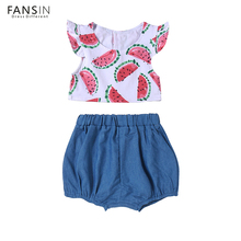 Fansin Brand Girls Clothes Set Cotton Watermelon Print Top+Short Pant 2pcs Summer Costume Infant Baby Clothing Child Outfit Set(China)