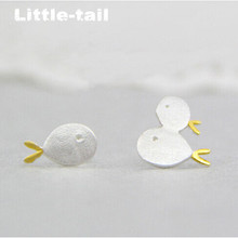 2017 New listing 925 sterling silver matte brushed asymmetric earrings cute female fashion personality earrings wild fish