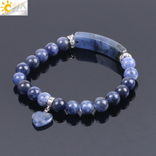 Buy CSJA Natural Stone Sodalite Bracelets Women Men Love Heart Blue White Dot Beads Stretch Healing Buddhist Prayer Bangles F109 for $3.72 in AliExpress store