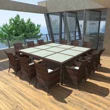 iKayaa outside dining Poly Rattan Brown For 12 people Garden Set ES Stock