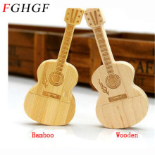 FGHGF wooden guitar usb flash drive natural wood bamboo pendrive 32GB 8GB 16GB 4GB memory stick thumb drive customer LOGO gift(China)