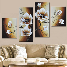 Fantastic Oil Paintings Group Hand Painted Abstract White Flower On Canvas 4 Panel Wall Art Modern Home Decor Pictures Unframe