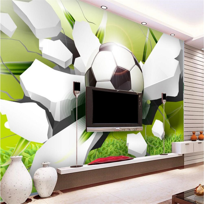 3d wall mural wallpaper photo wallpaper photography Modern World Cup Football paper broken wall living room sofa background<br><br>Aliexpress