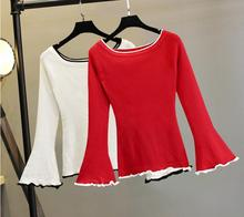 Autumn and winter new Speaker sleeves Female Head of a collar Slim sweater